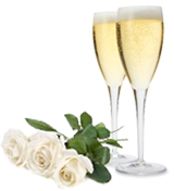 Wedding champagne and flowers